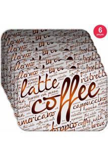 Jogo Americano Love Decor Wevans Latte Coffee Kit Com 6 Pçs
