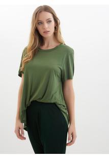 Camiseta Rosa Chá Tite Malha Verde Militar Feminina (Verde Militar, G)