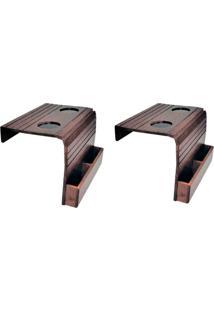Bandeja Porta Copo Para Sofá Kit Com 2 Porta Controle Tabaco