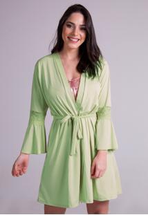 Hobby Roupão Bravaa Modas Robe Amarrar Lingerie 241 Verde