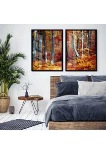 Quadro 65X90Cm Floresta Canadá Moldura Preta Com Vidro