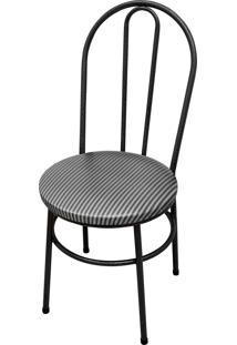 Cadeira Milla Craqueado/Tick Listras Aã§Omix Preta - Cinza - Dafiti