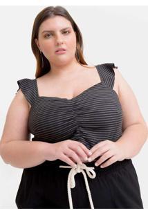 Blusa Cropped Almaria Plus Size Tal Qual Decote Pr