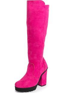 Bota Cano Alto Feminina Plataforma Pink
