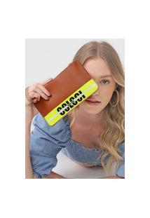 Bolsa Tiracolo Colcci Best Seller Logo Strip Caramelo