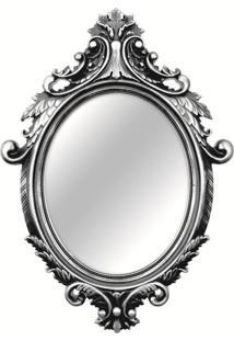 Espelho Oval Rococó Prata 38X55Cm Mart 5030