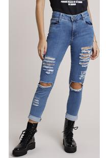 Calça Jeans Feminina Sawary Skinny Cintura Média Cropped Destroyed Azul Médio