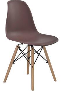 Conjunto 04 Cadeiras Eiffel S/Branco Pp Café Base Madeira