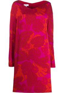 Escada Sport Vestido De Tricô Com Estampa De Folhas - Vermelho