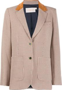 Tory Burch Check-Print Single-Breasted Blazer - Marrom