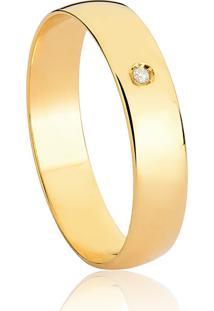 Aliança De Ouro 18K Reta Abaulada Polida Com Diamante (4,30Mm)