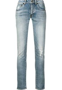 Saint Laurent Distressed Skinny Jeans - Azul