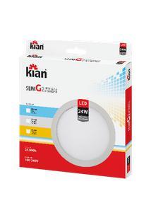 Luminária De Sobrepor Kian Redondo Led Slim G2 Alt: 2,8Cm Comp.: 28,5Cm Larg: 28,5Cm 24W 3000K Amarela.