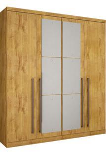 Guarda-Roupa Solteiro Com Espelho 4 Portas Hannover-Novo Horizonte - Freijo Dourado