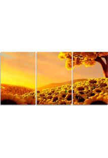 Quadro Decorativo Sol Girassol Dourado Sala Quarto Casa