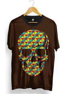 Camiseta Bsc Skull Geometric Calors Total Full Print - Masculino-Marrom