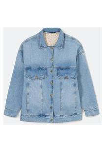 Jaqueta Reversível Jeans Com Bolsos E Lado Reverso Com Estampa Floral | Blue Steel | Azul | Gg