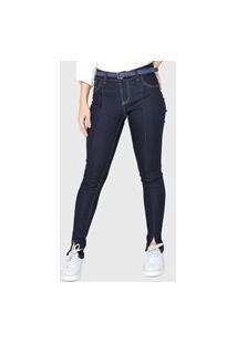 Calça Jeans Grifle Company Skinny Recortes Azul-Marinho