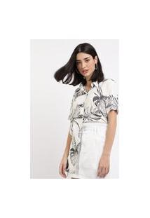 Camisa Feminina Ampla Estampada De Folhagens Manga Curta Branca
