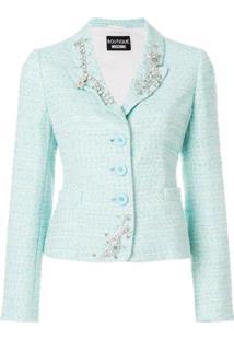 Boutique Moschino Blazer De Tweed Com Aplicações - Azul