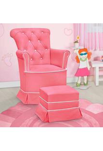Poltrona Amamentação Paola Com Balanço E Puff Rosa E Branco