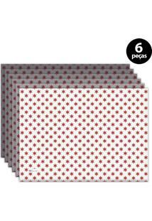 Jogo Americano Mdecore Natal Estrelas 40X28 Cm Branco 6Pçs