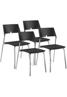 Cadeira 1711 Cromada 04 Unidades Polipropileno Preto Carraro