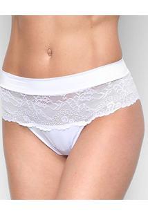 Calcinha Hope Cintura Alta Renda Feminina - Feminino-Branco
