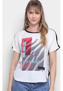 Camiseta Morena Rosa Abertura Lateral Enjoy Growing Feminina - Feminino-Preto