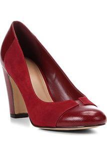 Scarpin Couro Shoestock Salto Alto Mix Croco - Feminino-Vinho