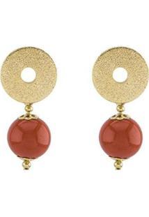 Brinco Barbara Strauss Alimos Em Resina Lalique Revestido Em Ouro 18K - Feminino-Vermelho