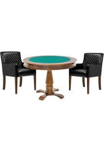 Mesa De Jogos Carteado Victoria Redonda Tampo Reversível Amêndoa Com 2 Cadeiras Liverpool Corino Preto Matelassê - Gran Belo
