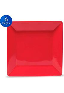 Conjunto De Pratos Para Sobremesa 6 Peças Quartier Red - Oxford - Vermelho