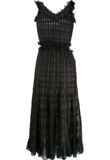 Alexander Mcqueen Ruched Midi Dress - Preto