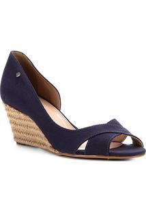 Peep Toe Shoestock Anabela Lona - Feminino-Marinho
