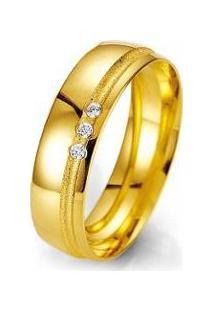 Aliança De Casamento Feminina Em Ouro 18K 4Mm Acabamento Liso E Fosco Wm Jóias - Feminino-Dourado