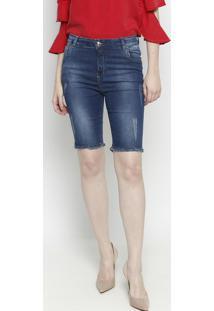 Bermuda Jeans Com Puídos- Azul- Zamany Jeanszamany Jeans