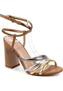 Sandália Couro Shoestock Salto Alto Amarração Feminina - Feminino-Ouro
