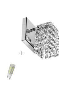 Arandela De Cristal Legitimo Clearwall Com Lâmpada 6000K (Br