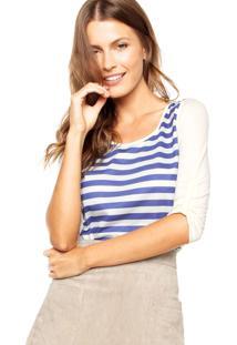 Blusa Fiveblu Estampa Off-White/Azul
