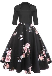 Vestido Pin Up Retro Preto Saia Floral Godê