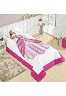 Edredom Solteiro Sonhadores Princesa 02 Peças Acompanha Enfeite Para Cabeça - Rosa