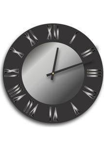 Relógio De Parede Premium Preto Ônix Com Relevo Em Acrílico Espelhado Prata 50Cm Grande