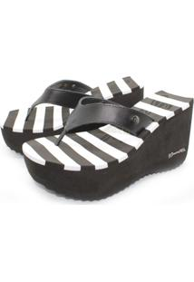 Sandã¡Lia Barth Shoes Listras Preto E Branco - Preto - Feminino - Dafiti