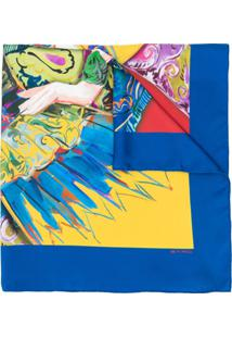 Etro Echarpe Com Estampa Ilustrada - Azul