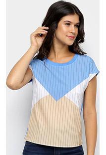 Blusa Cativa Estampa Geométrica Listrada Feminina - Feminino-Azul Royal