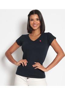 Camiseta Lisa Bordada - Azul Marinhous Polo