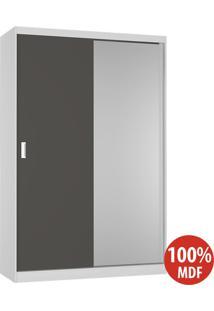 Guarda Roupa 2 Portas Com 1 Espelho 100% Mdf 813E1 Branco/Café - Foscarini