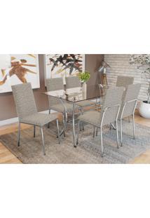 Conjunto Mesa Dária C/ 6 Cadeiras Amsterdã Cromado/Linho Marrom Kappesberg