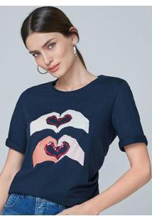 Blusa Azul Ampla Detalhe Paetês
